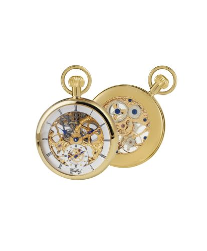 Mechanical Gold Plated Open Faced Pocket Watch With Chain